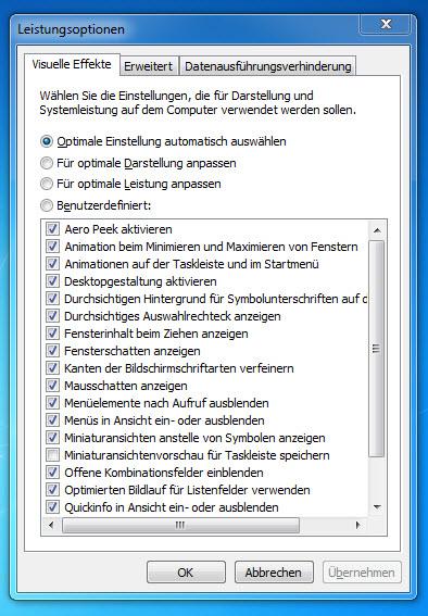 Windows 7 Leistungsoptionen