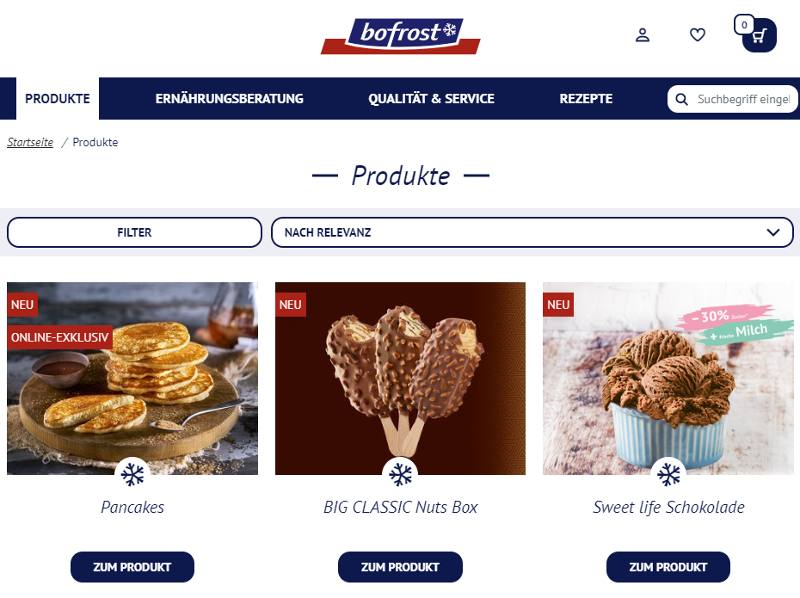 Bofrost Produkte jederzeit online bestellen